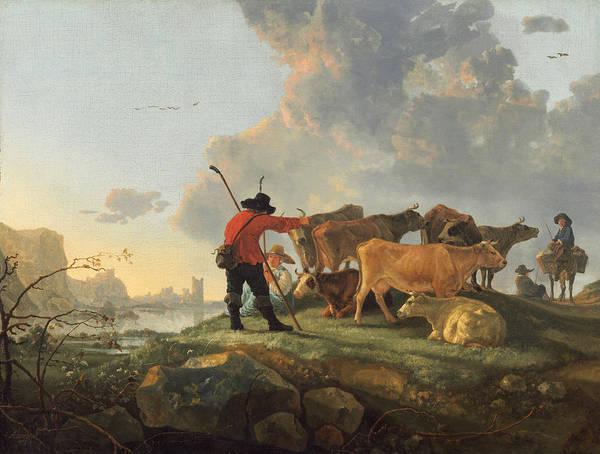 Cuyp Wall Art - Painting - Herdsmen Tending Cattle by Aelbert Cuyp