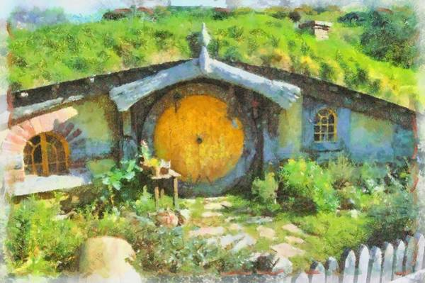 Pixie Painting - Homes Of The Shire Folk by Sarah Kirk