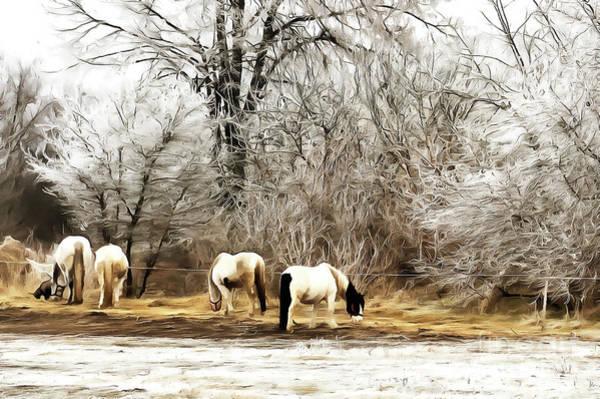 Painting - Horses On The Farm by Odon Czintos