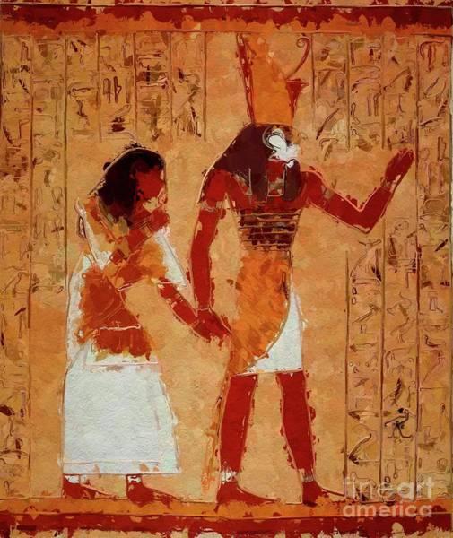 Ancient Egypt Painting - Horus, Egyptian God By Mary Bassett by Mary Bassett