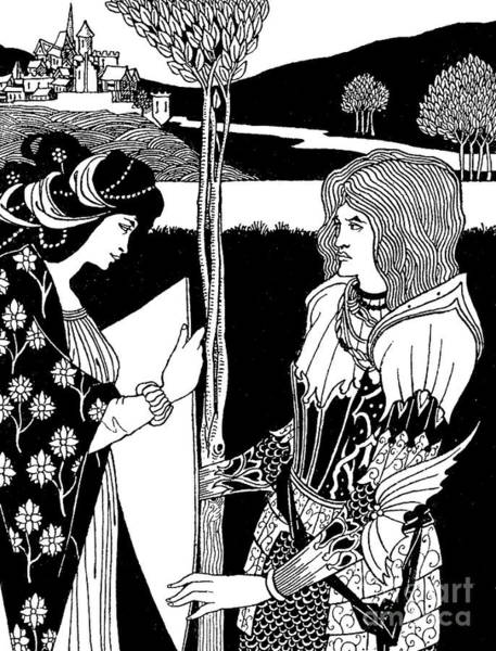 Wall Art - Drawing - How Morgan Le Fay Gave A Shield To Sir Tristran by Aubrey Beardsley