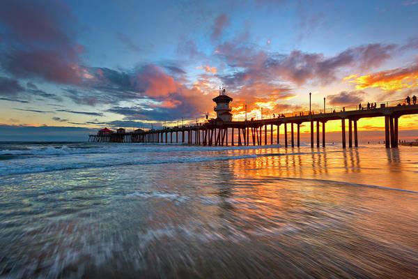 Huntington Beach Pier Photograph - Huntington Beach Pier Sunset by Brian Knott Photography