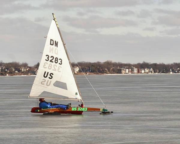 Photograph - Ice Sailing - Madison, Wisconsin by Steven Ralser