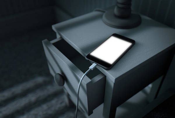 Shadow Digital Art - Illuminated Cellphone Next To Bed by Allan Swart
