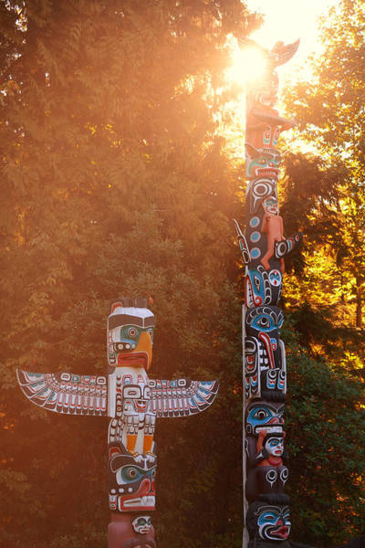 Photograph - Indian Totem Poles by Songquan Deng