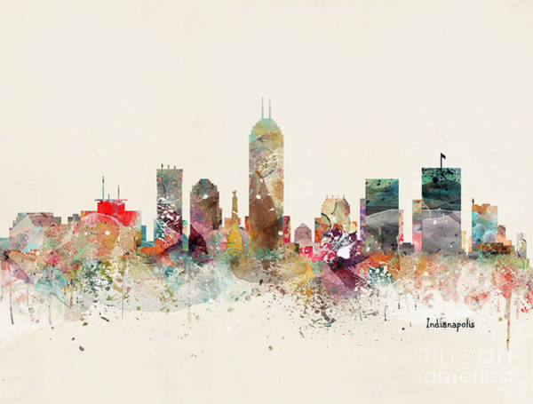Indianapolis Wall Art - Painting - Indianapolis Indiana Skyline by Bri Buckley