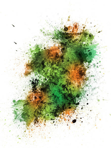 Eire Digital Art - Ireland Map Paint Splashes by Michael Tompsett