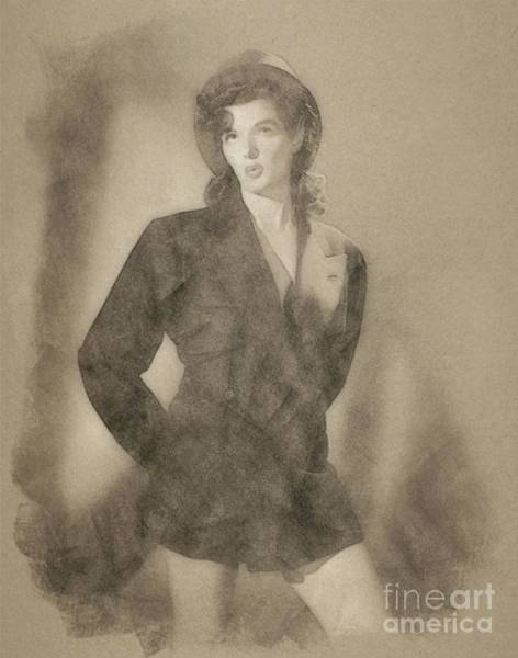 Pinewood Drawing - Jane Russell, Vintage Actress By John Springfield by John Springfield