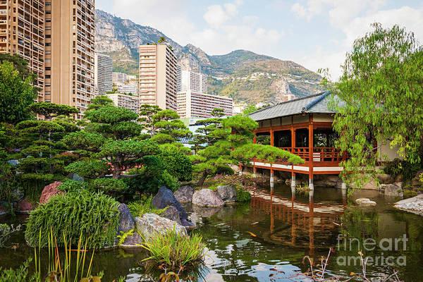 Gazebo Photograph - Japanese Garden In Monte Carlo. by Elena Elisseeva