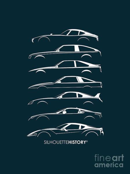 Vida Wall Art - Digital Art - Japanese Sports Car Silhouettehistory by Gabor Vida
