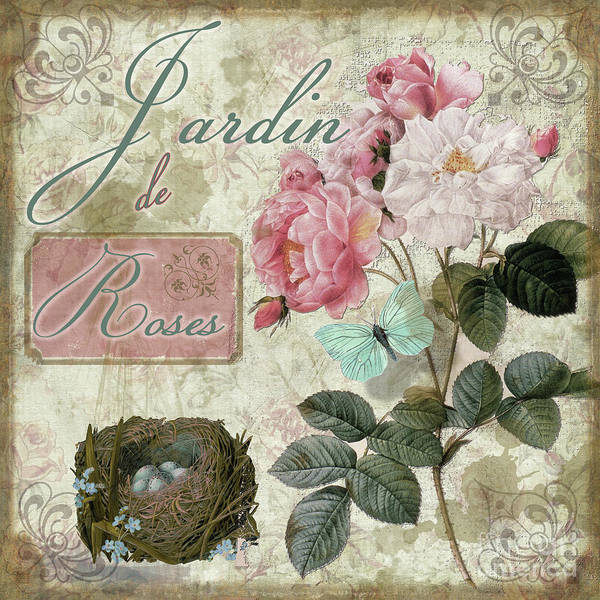 Cottage Style Wall Art - Painting - Jardin De Roses by Mindy Sommers