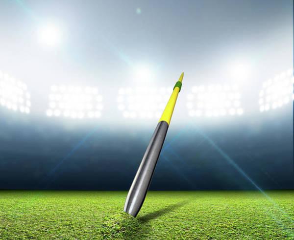 Peg Wall Art - Digital Art - Javelin In Generic Floodlit Stadium by Allan Swart