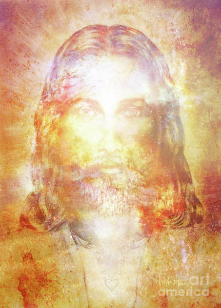 Cosmos Drawing - Jesus Christ Painting With Radiant Colorful Energy Of Light, Eye Contact. by Jozef Klopacka
