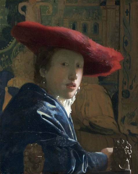 Postmark Painting - Attributed To Johannes Vermeer Girl With A Flute Probably by Johannes Vermeer