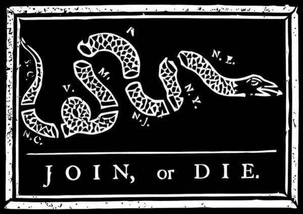Join Wall Art - Digital Art - Join Or Die - Black And White by War Is Hell Store