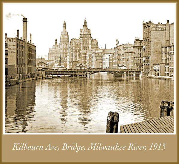 Kilbourn Avenue Bridge, Milwaukee River, C.1915, Vintage Photogr Art Print
