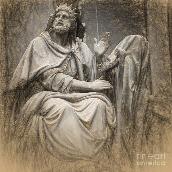 Charcoal Drawing Photograph - King David  by HD Connelly