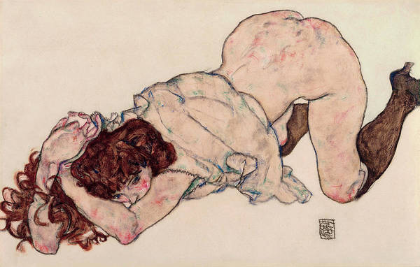 Kneeling Painting - Kneeling Girl, Resting On Both Elbows by Egon Schiele