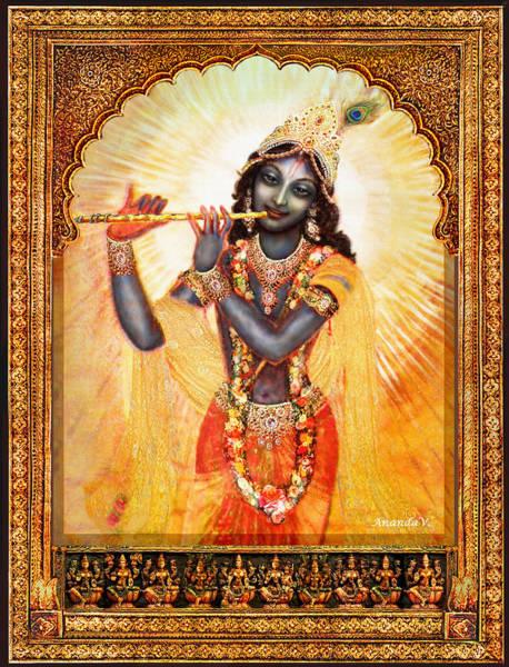 Wall Art - Mixed Media - Krishna With The Flute  by Ananda Vdovic