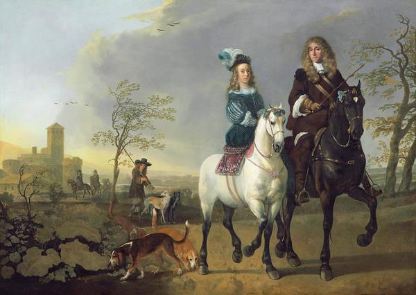 Aelbert Cuyp Painting - Lady And Gentleman On Horseback by Aelbert Cuyp