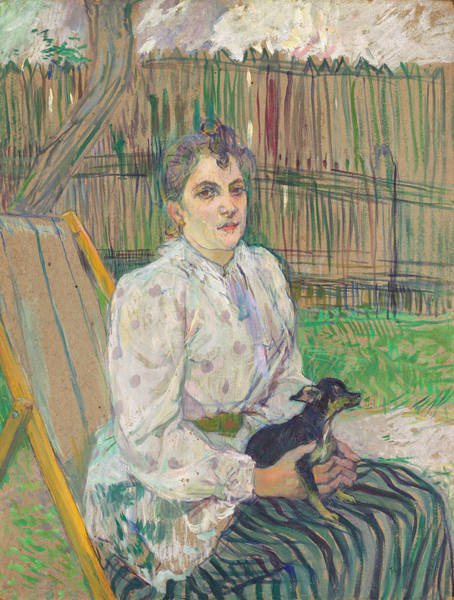 Wall Art - Painting - Lady With A Dog by Henri de Toulouse-Lautrec