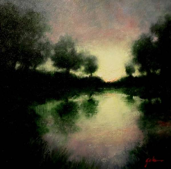 Stream Wall Art - Painting - Lagoon At Sunset by Jim Gola