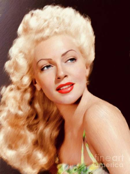 Screen Painting - Lana Turner, Vintage Actress by Mary Bassett