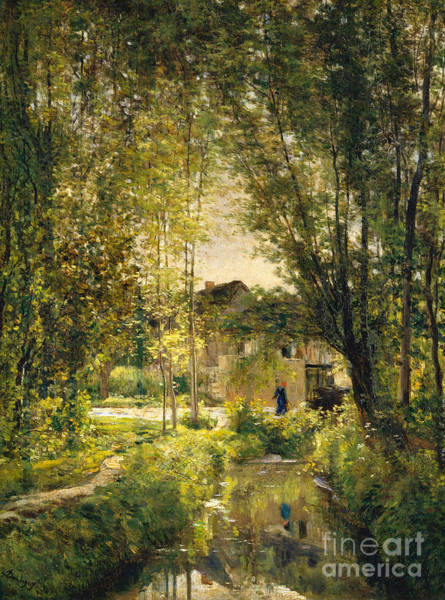 Sunlit Wall Art - Painting - Landscape With A Sunlit Stream by Charles Francois Daubigny
