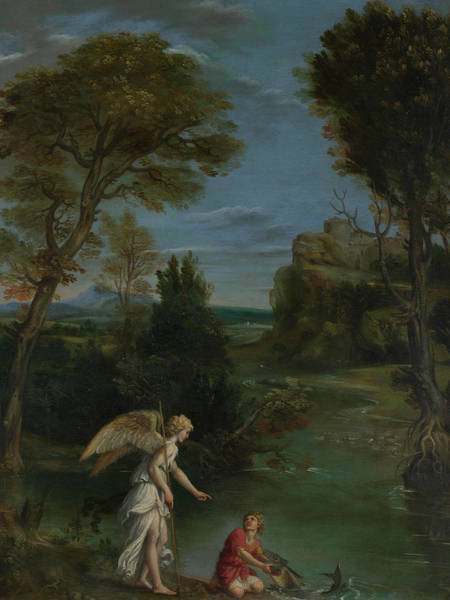 Waterway Painting - Landscape With Tobias Laying Hold Of The Fish by Domenichino