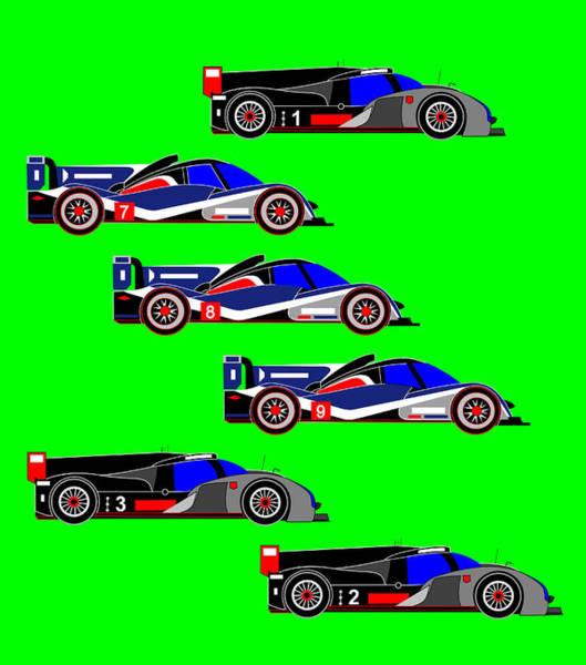 Wall Art - Digital Art - Le Mans 2011 Top 6 Cars by Asbjorn Lonvig