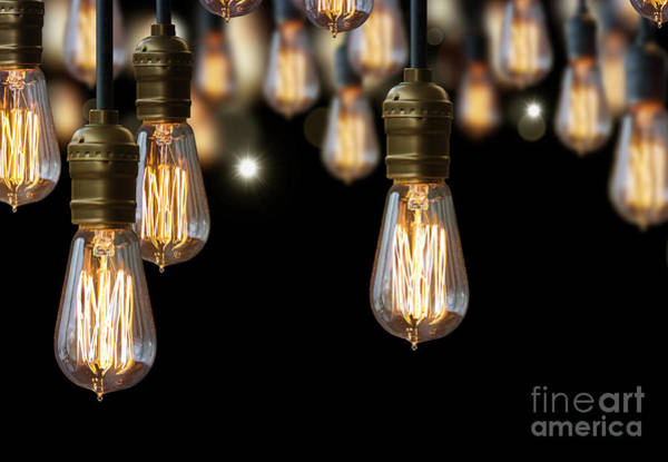 Wall Art - Photograph - Light Bulb Background by Setsiri Silapasuwanchai