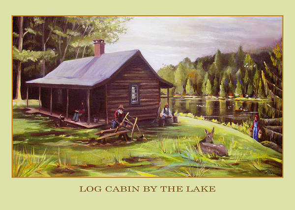 Coolidge Painting - Log Cabin By The Lake by Nancy Griswold