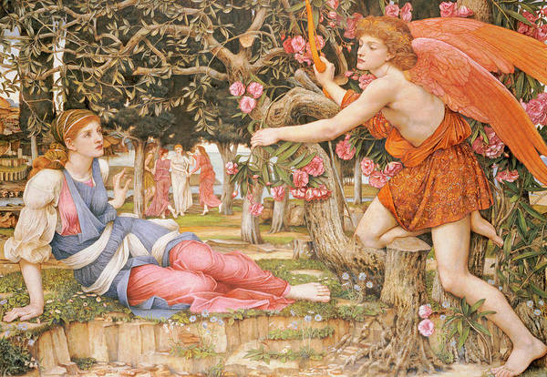 Angelic Beings Painting - Love And The Maiden by John Roddam Spencer Stanhope