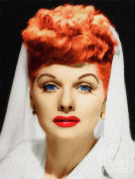 Lucille Ball Wall Art - Painting - Lucille Ball, Vintage Actress by Mary Bassett