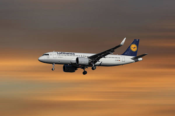 Aircraft Mixed Media - Lufthansa Airbus A320-271n by Smart Aviation