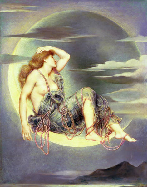 Divine Love Wall Art - Painting - Luna by Evelyn De Morgan