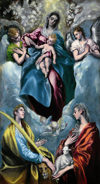 Painting - Madonna And Child With Saint Martina And Saint Agnes by El Greco