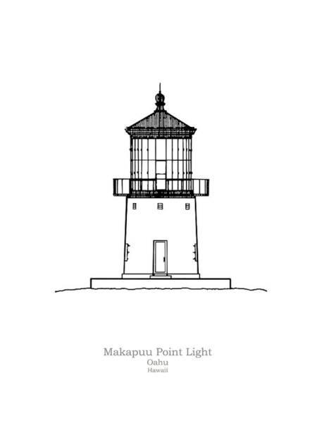 Oahu Drawing - Makapuu Point Lighthouse - Hawaii - Blueprint Drawing by JESP Art and Decor