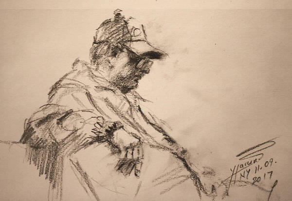Wall Art - Drawing - Man With A Hat by Ylli Haruni