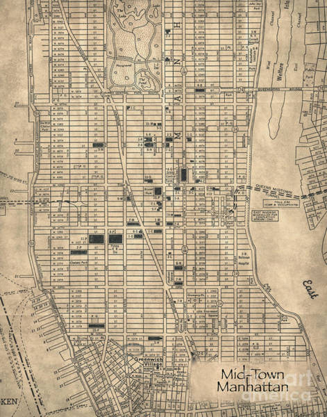 Hells Kitchen Wall Art - Photograph - Manhattan New York Antique Vintage City Map by ELITE IMAGE photography By Chad McDermott