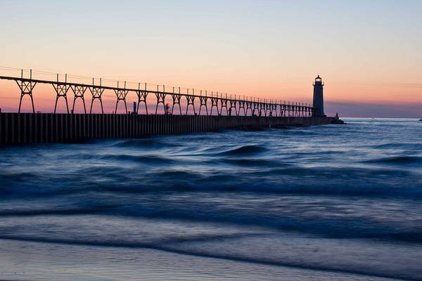 Manistee Photograph - Manistee Michigan Lighthouse And Pier by Twenty Two North Photography
