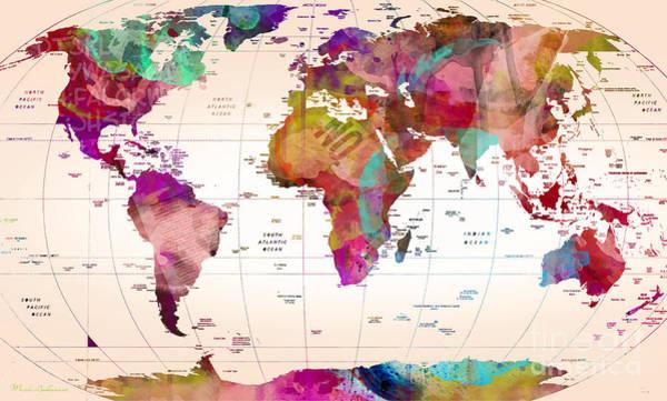 Wall Art - Painting - Map Of The World   by Mark Ashkenazi