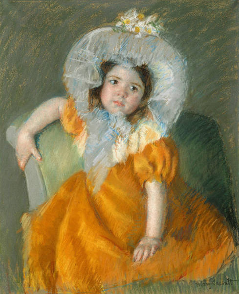 Pastel - Margot In Orange Dress by Mary Cassatt