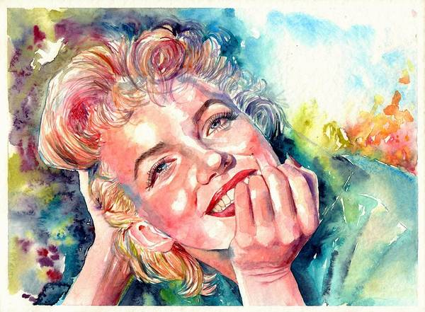 Wall Art - Painting - Marilyn Monroe Portrait by Suzann Sines