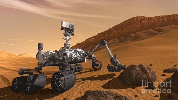 Nasa Photograph - Mars Rover Curiosity, Artists Rendering by NASA Science Source