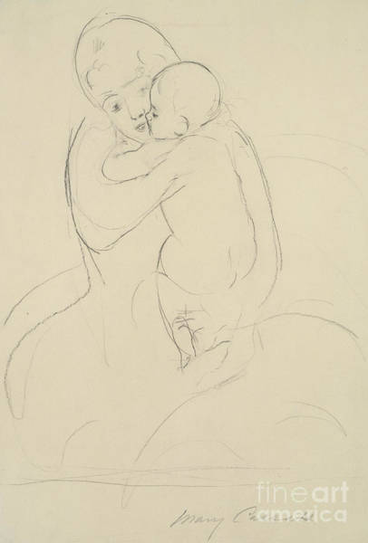 Care Drawing - Maternal Caress by Mary Stevenson Cassatt