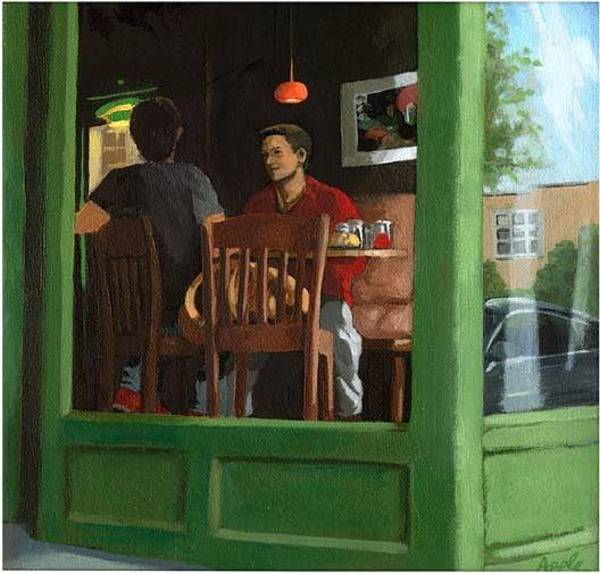 Wall Art - Painting - 2 Men At Cafe by Linda Apple