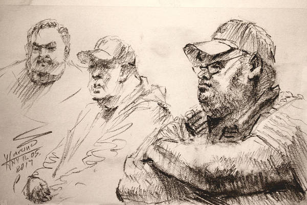 Wall Art - Drawing - Men At Cafe by Ylli Haruni