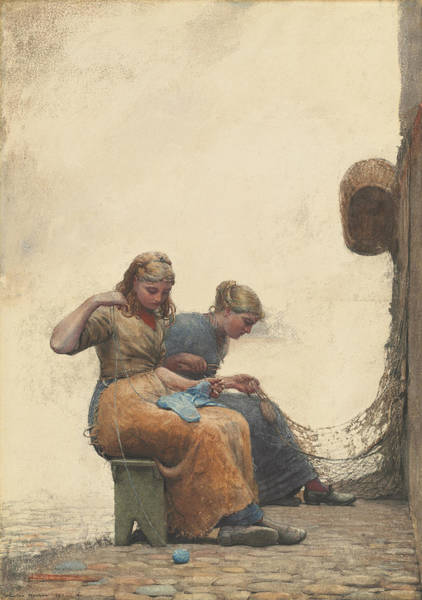 Mending Painting - Mending The Nets by Winslow Homer
