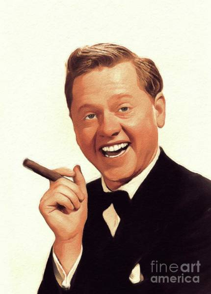 Wall Art - Painting - Mickey Rooney, Vintage Actor by John Springfield